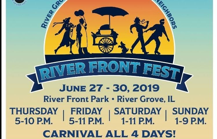 Multi-colored flyer with the 2019 River Front Fest information