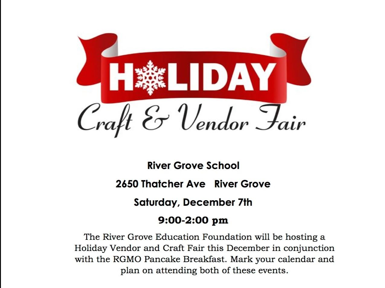 Flyer with information regarding the upcoming River Grove School Holiday Craft Fair