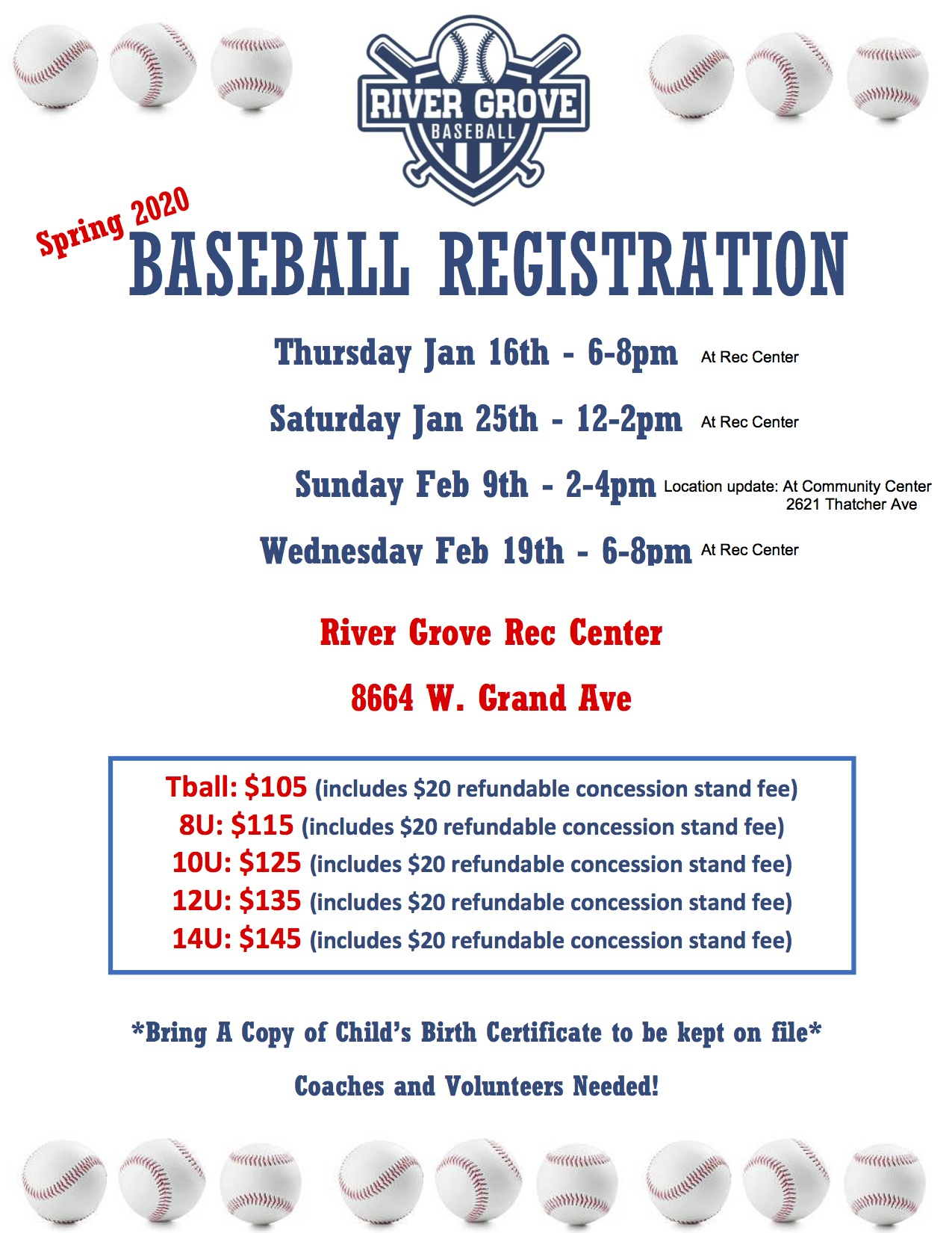 Flyer with little league baseball registration information