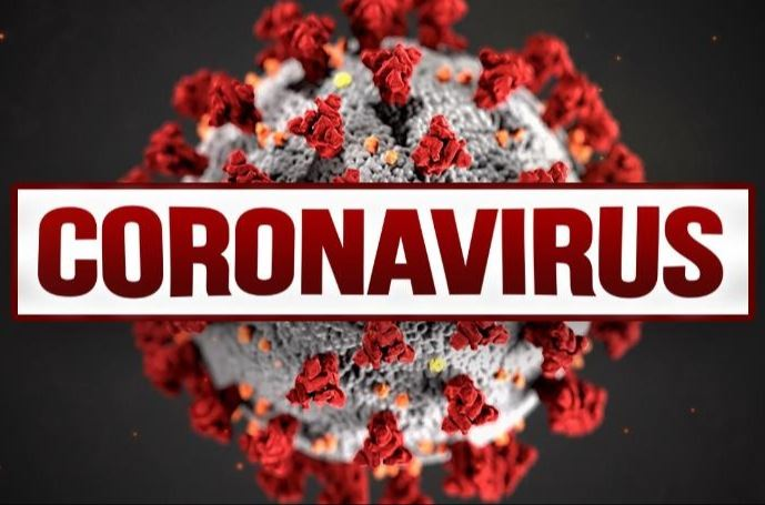 Enlarged image of red and white Coronavirus spore