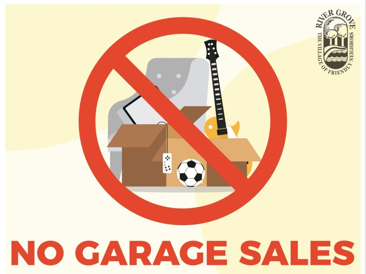 Flyer reminding residents no garage sales allowed