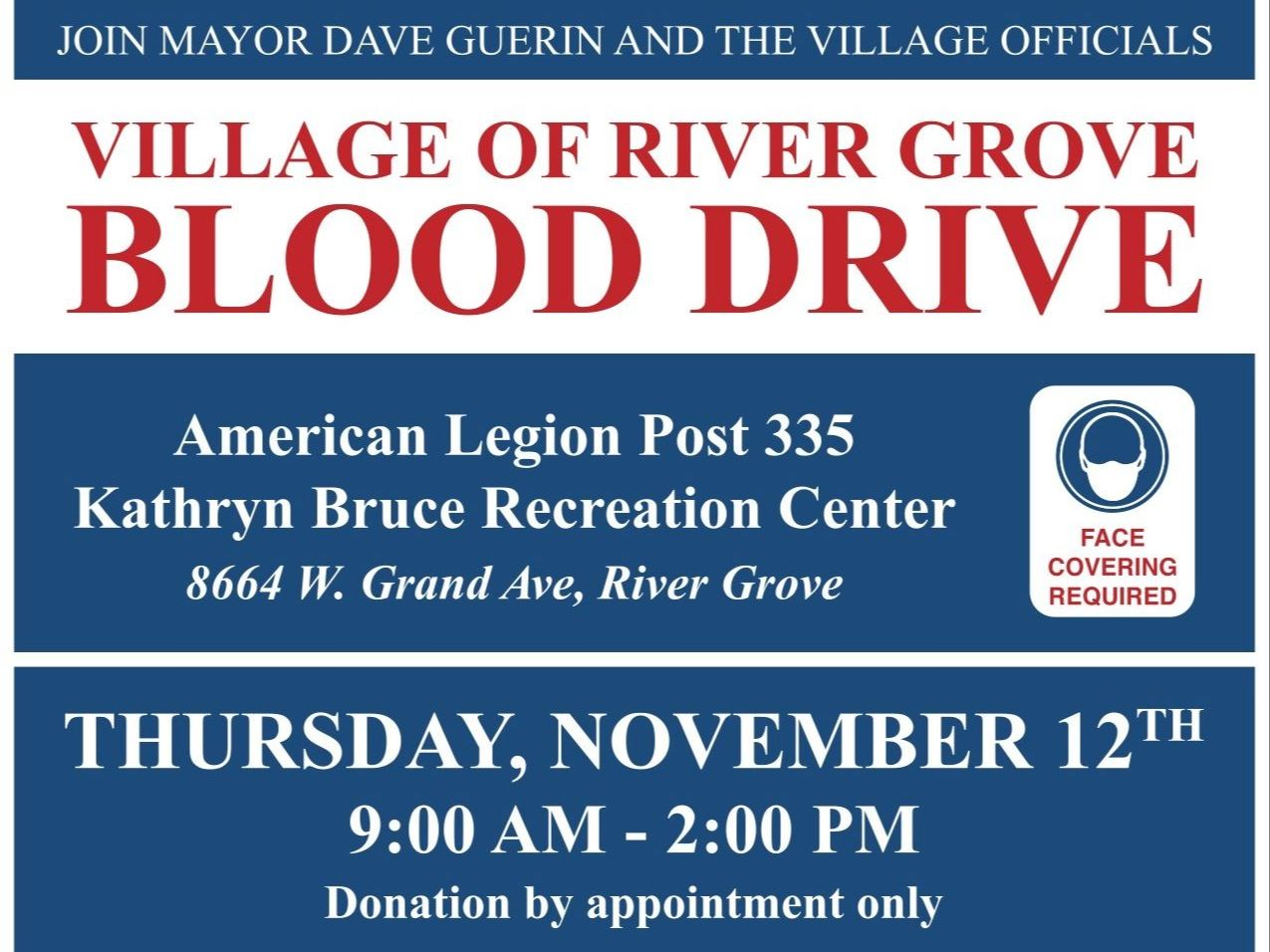 Flyer promoting a November 12th blood drive