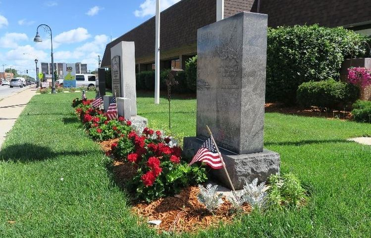 Stone markers commemorating veterans from Korea, Vietnam and World War Two