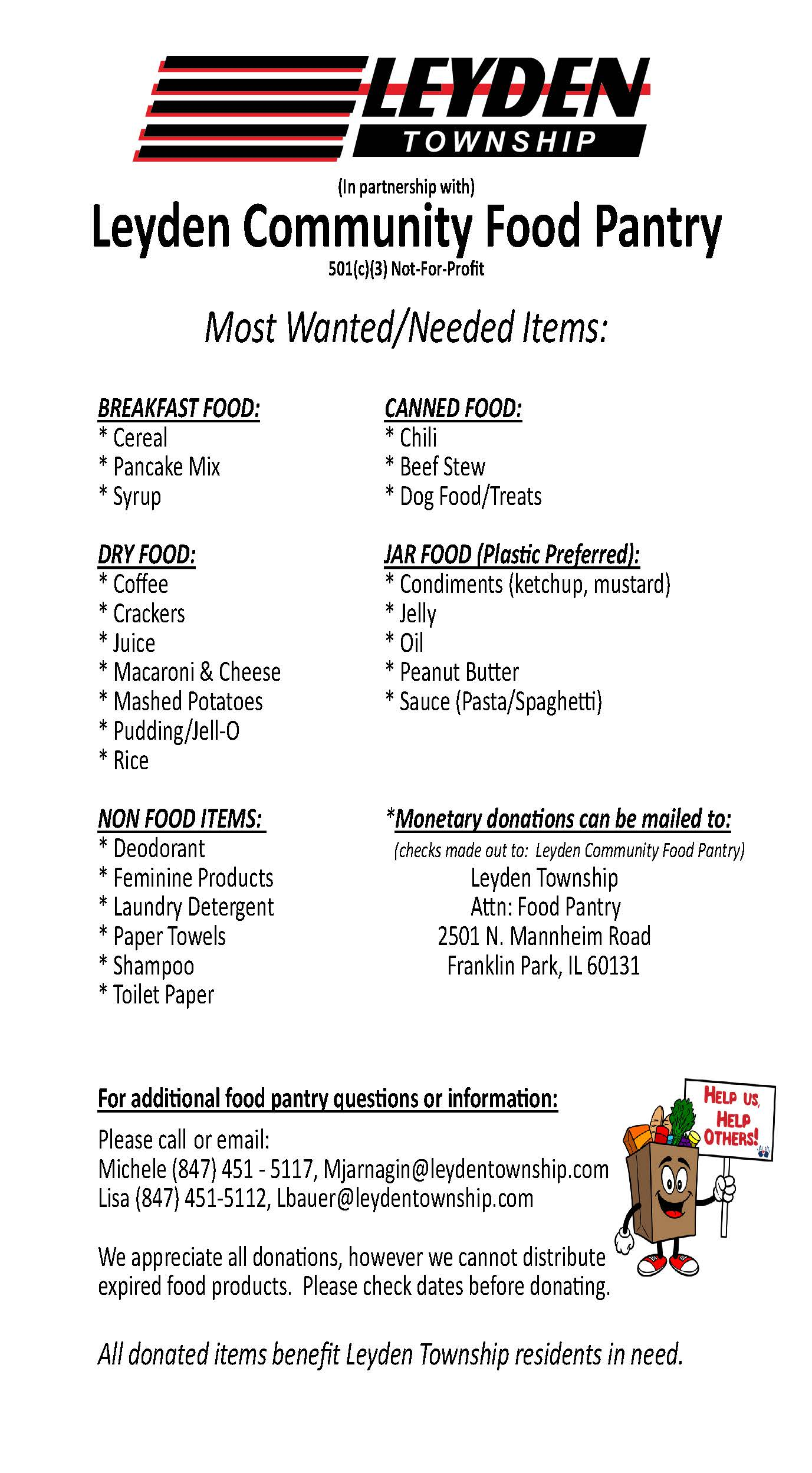 Leyden Food Pantry Flyer with various information