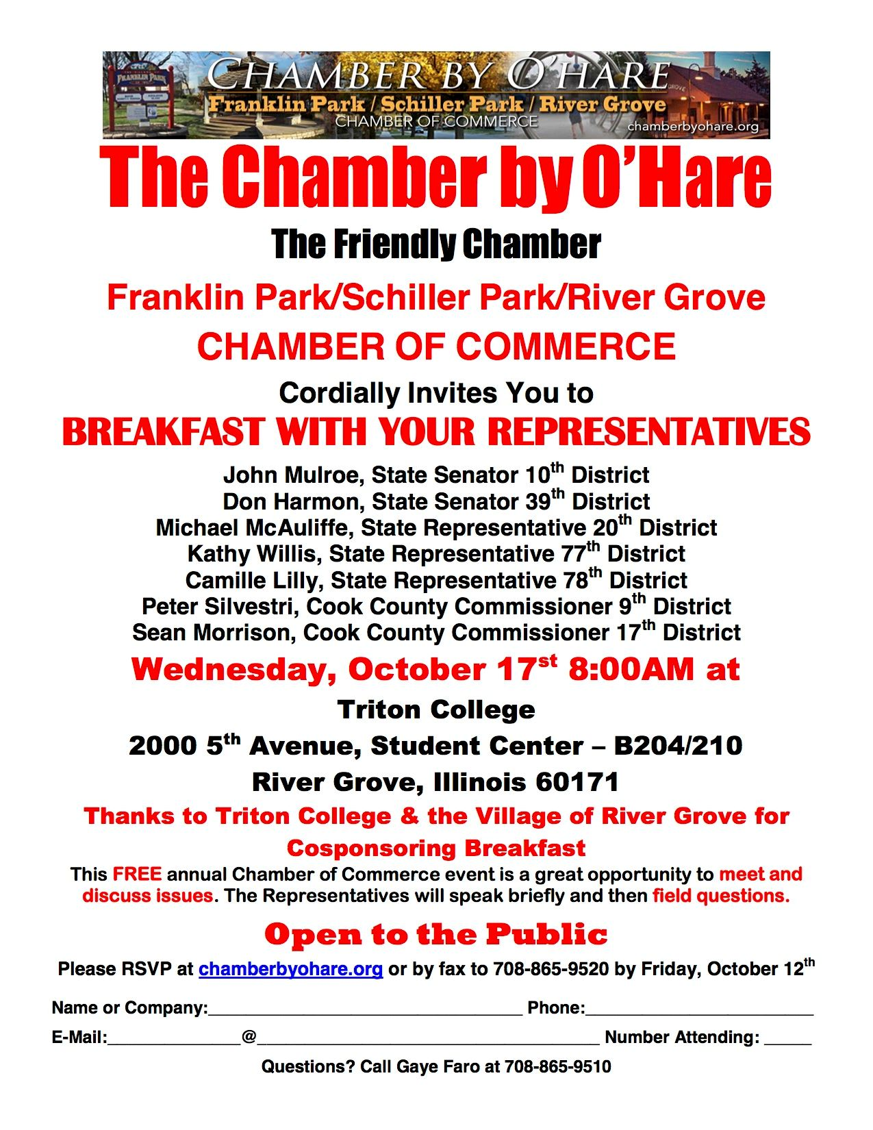 Flyer with information regarding an upcoming meeting with elected officials