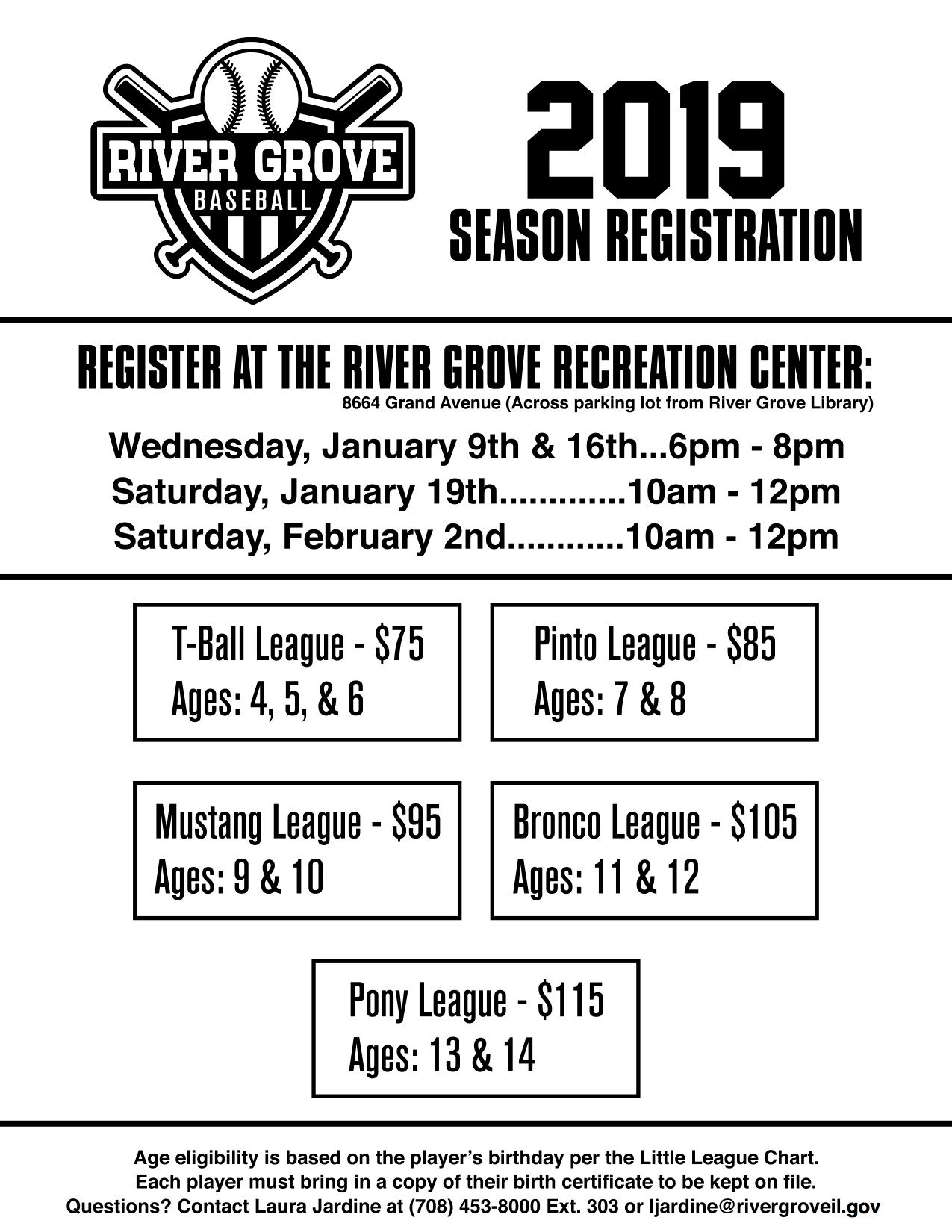Flyer with sign up info for upcoming 2019 little league baseball season
