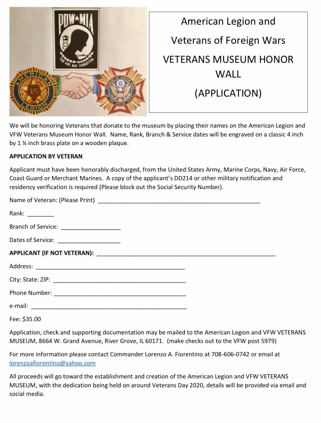 Application for Military Veterans Honor Wall