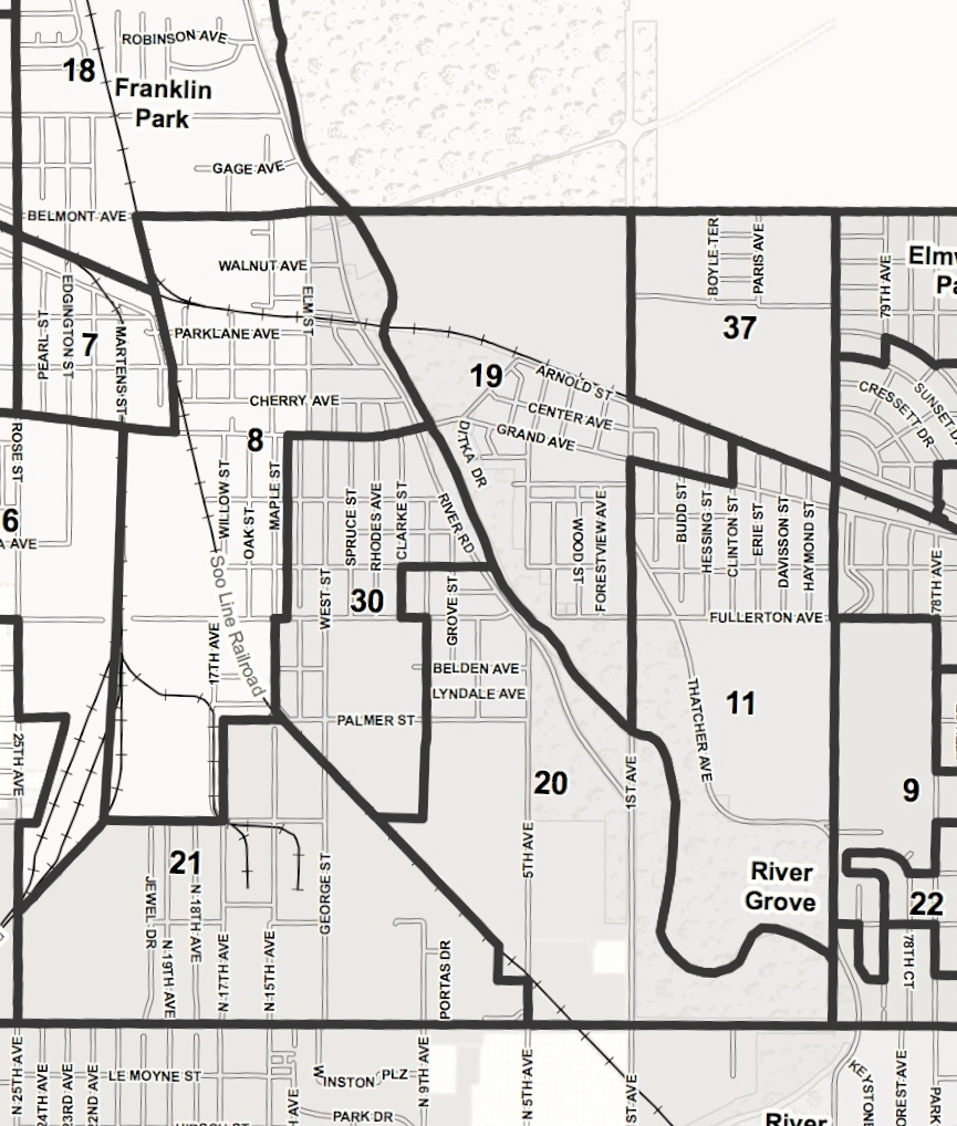 Black and white map showing voting precinct borders within River Grove