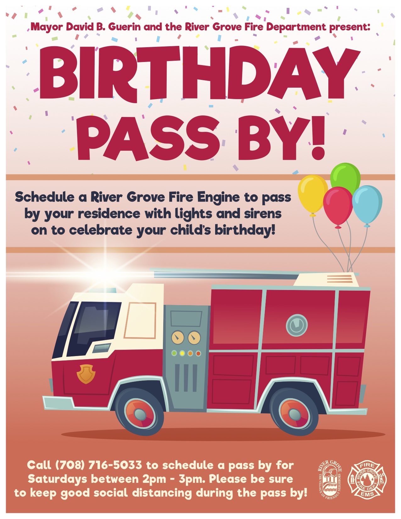 Flyer with information about a fire truck visit on your child's birthday