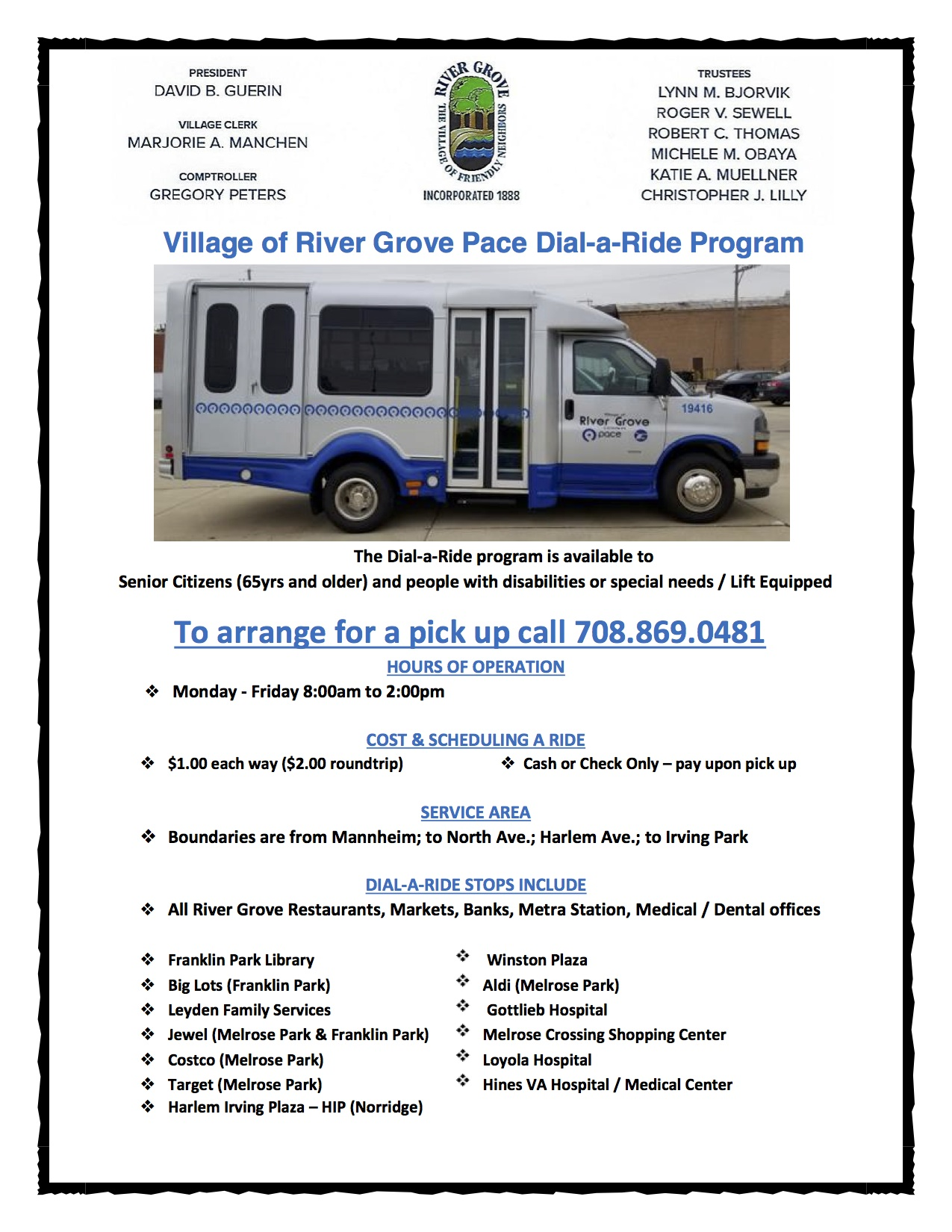 Updated flyer with information about the Dial A Ride program