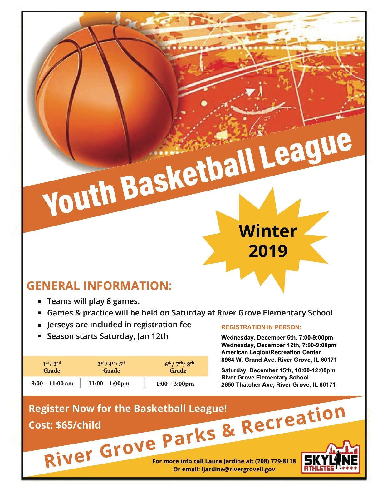 2018 Youth Basketball League flyer with signup dates and times