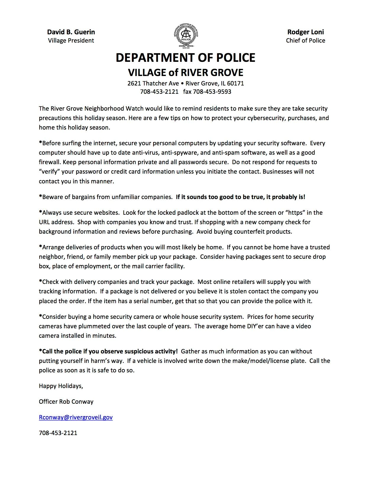 Letter from the River Grove Police offering holiday safety precautions